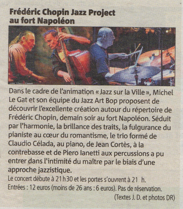 Piero iannetti, concert photo in jazz club, with Frédéric Chopin jazz project, Fort Napoléon, Toulon. France