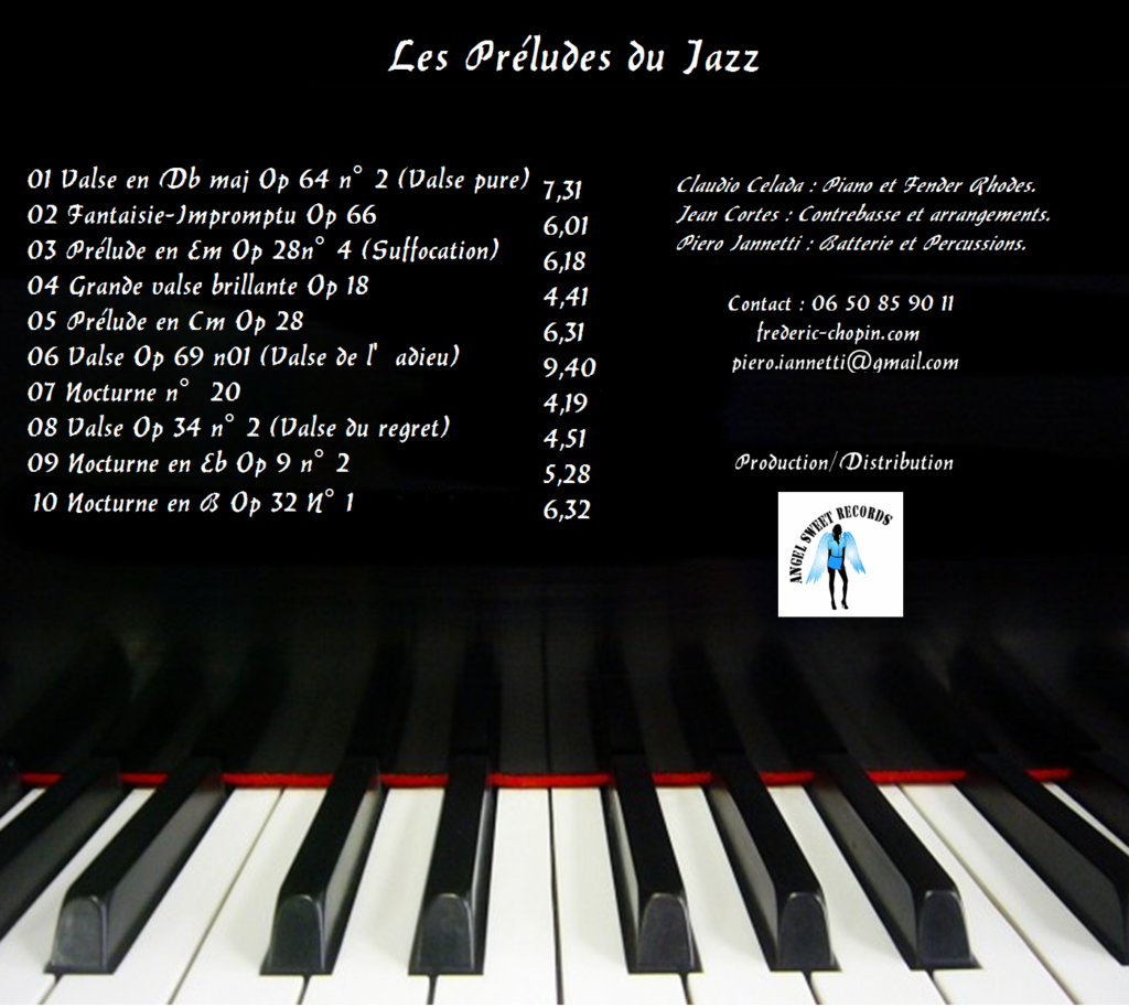 CD Frédéric Chopin jazz, online sale of the CD Frédéric Chopin jazz project by Paypal.